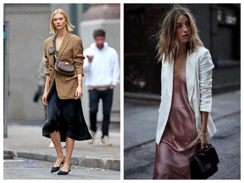 Модный образ: бельевое платье и блейзер