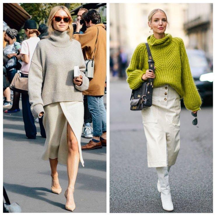 Модные образы со свитером