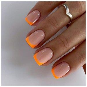 Нежный оранжевый френч