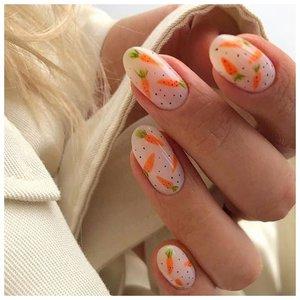Ногти с морковками - милый дизайн