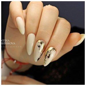 Длинные ногти с фольгой