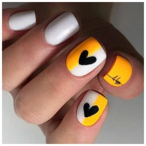 Двухцветные ногти с дизайном