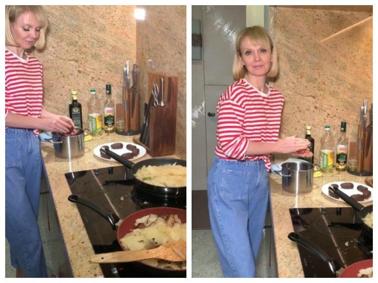 Валерия жарит картошку