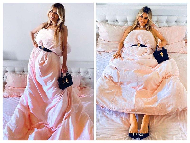 Белла Потемкина с одеялом вместо платья