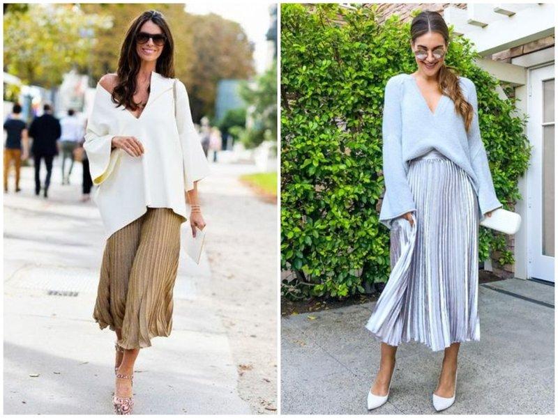 Как носить юбку плиссе со свитером летом