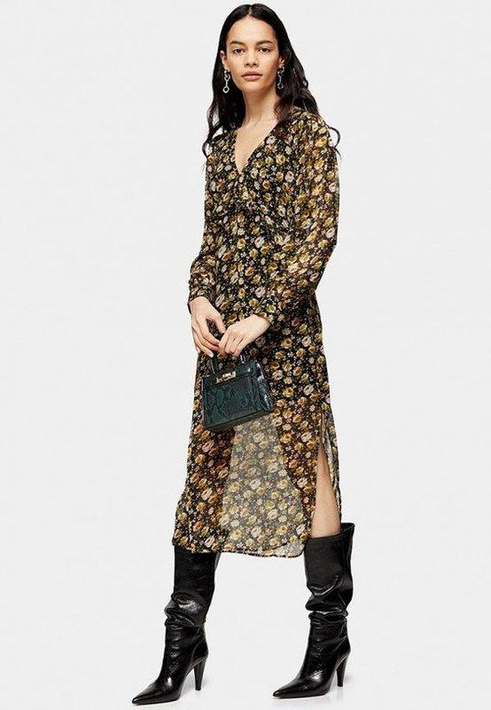 Стильное миди платье с цветочным принтом