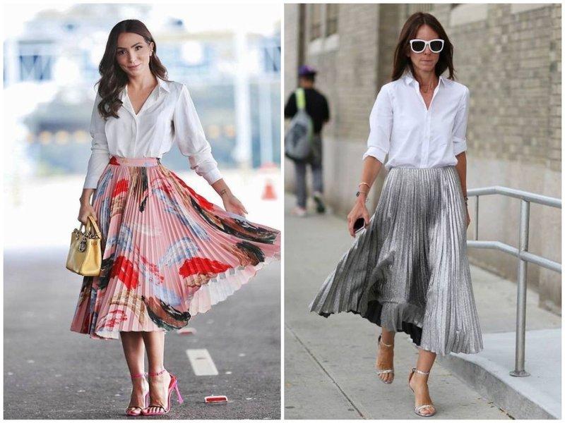 Как носить юбку плиссе с белой рубашкой в офис