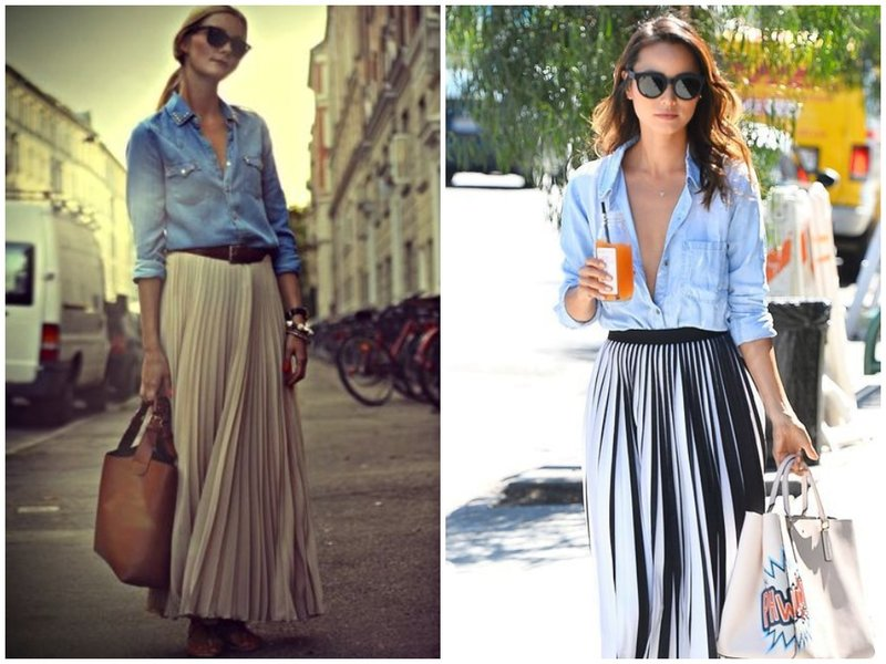 Как носить юбку плиссе с рубашкой из денима