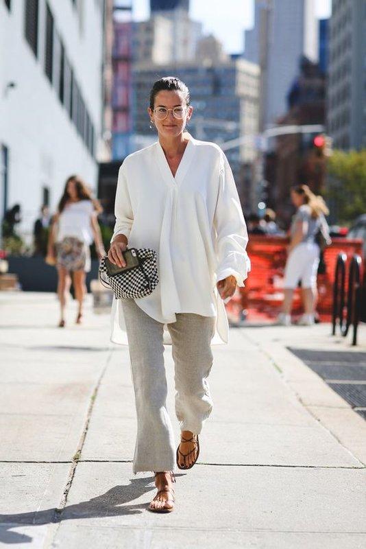 Белые и белая рубашка - модный образ