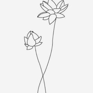 Эскиз тату цветы в стиле минимализм