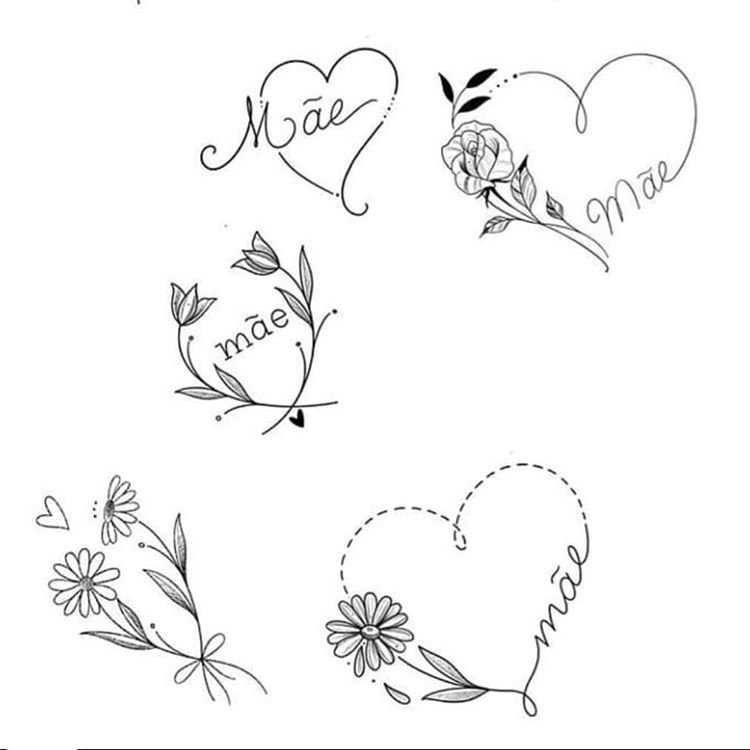 Эскизы тату сердца и цветы