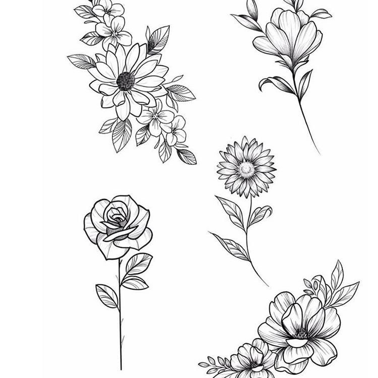 Эскизы тату веточки роза и подсолнух