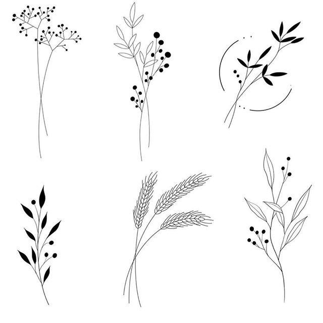 Эскизы тату веточки растений