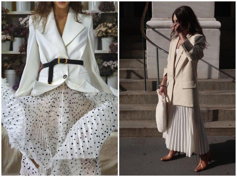 Как носить юбку плиссе с жакетом