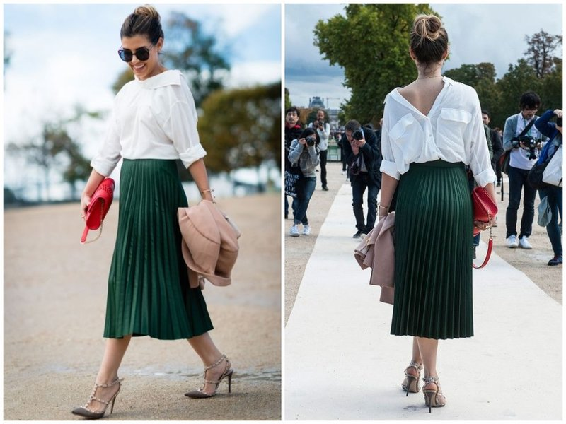 Как носить юбку плиссе с белой рубашкой наоборот