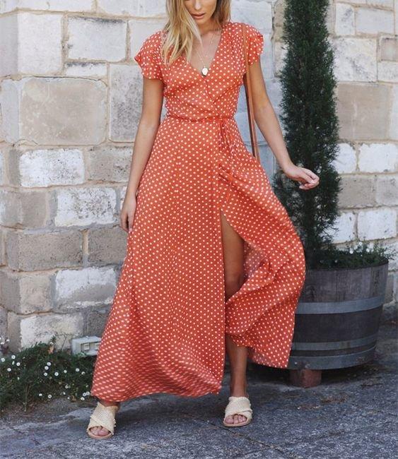 Оранжевое платье-халат