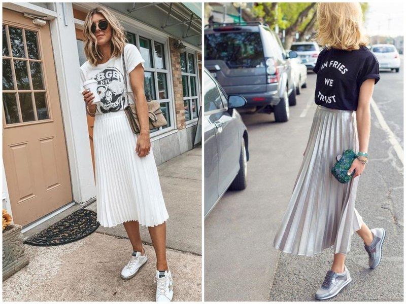 Как носить юбку плиссе с футболкой