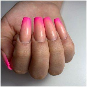 Длинные розовые ногти с эффектом омбре