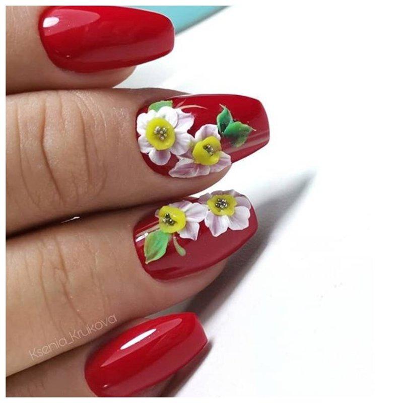 Лепка на ногтях - цветы