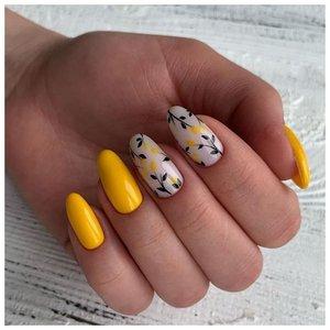 Аккуратные желтые летние ногти