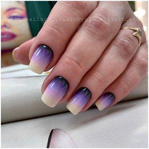 Нежные фиолетовые ногти с градиентом