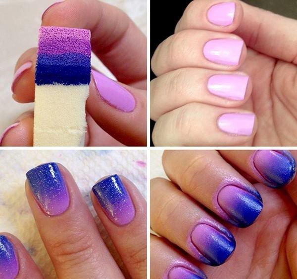Как сделать омбре на ногтях губкой