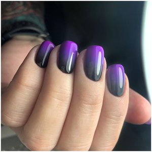 Черно-фиолетовый маникюр на короткие ногти