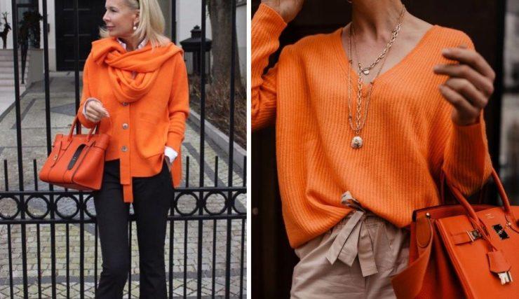 Образы с оранжевым цветом для женщин 50+