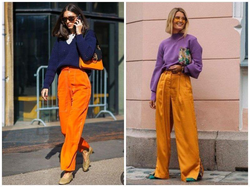 Сочетание оранжевого и фиолетового в одежде