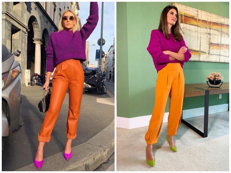 С чем носить оранжевые брюки