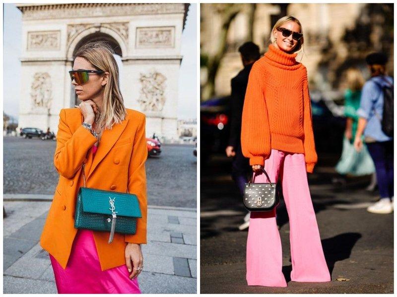 Модные летние образы с розовым и оранжевым