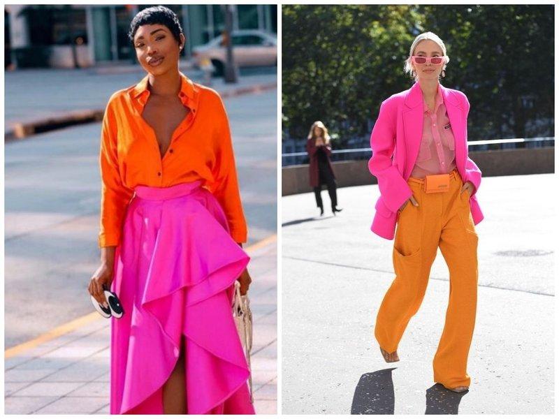 Как стильно носить розовый и оранжевый