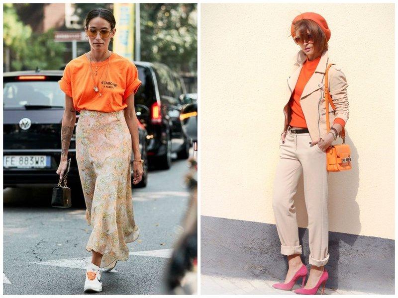 Модный офисный лук оранжевый с бежевым