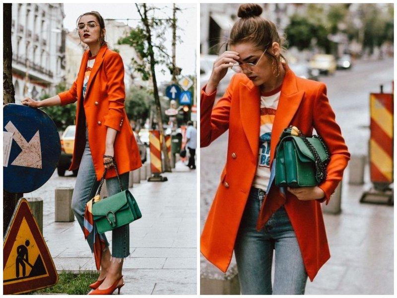 Оранжевый жакет с джинсами