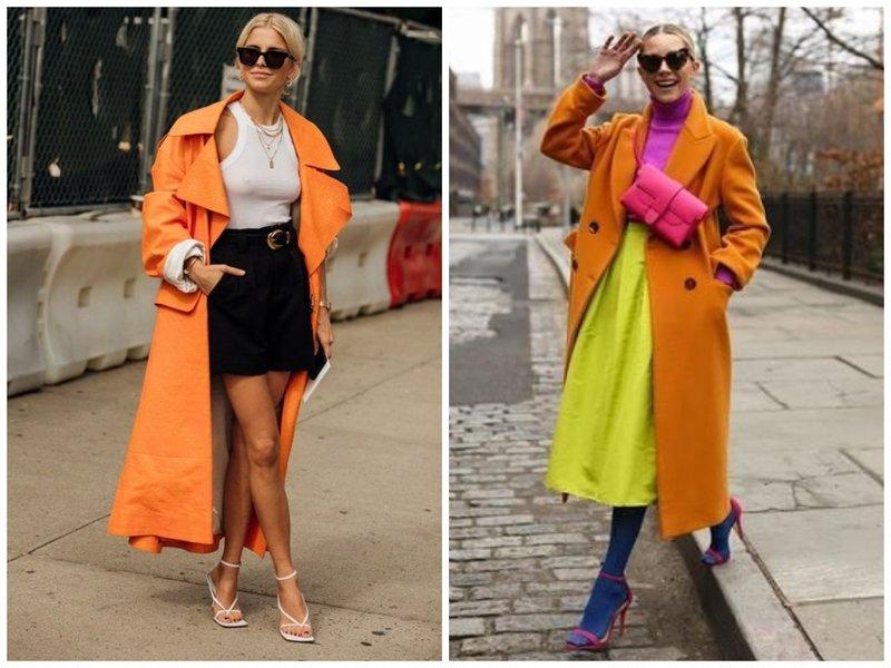 Оранжевый тренч - модный образ