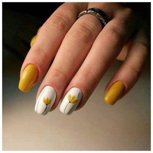 Желтые тюльпаны - маникюр