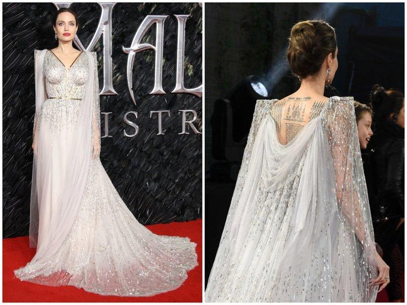 Анджелина Джоли в серебряном платье