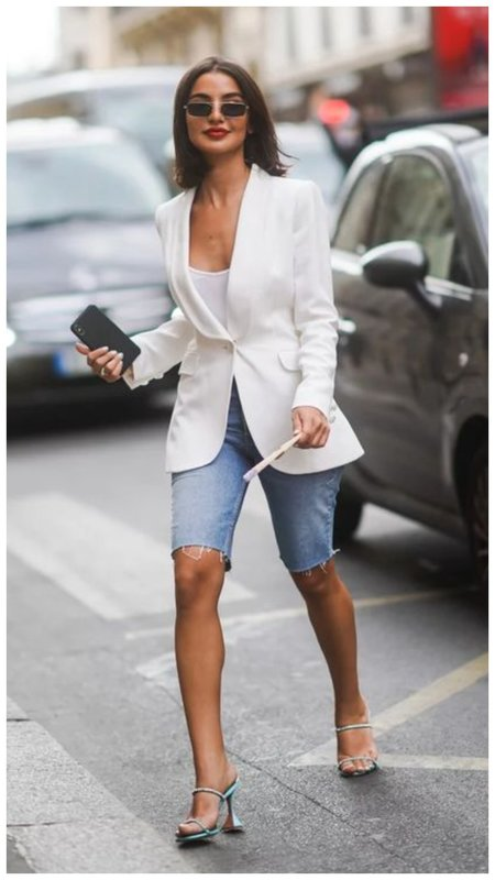 Джинсовые шорты и пиджак