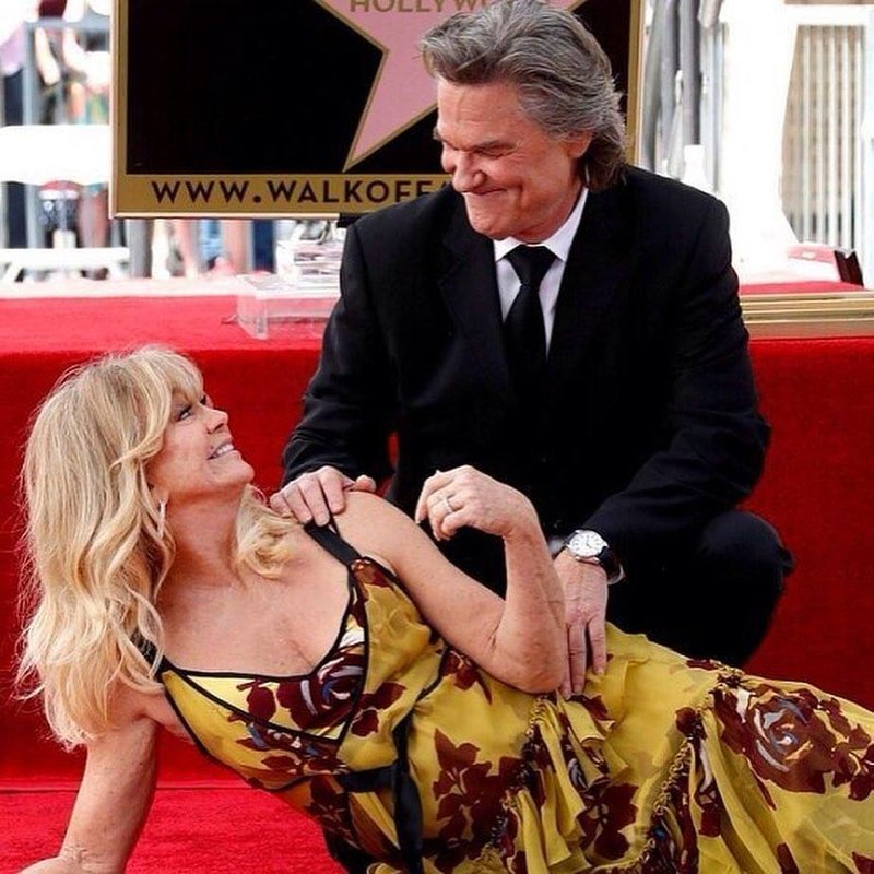 Курт Рассел и Голди Хоун на открытии звезды на Аллее Славы