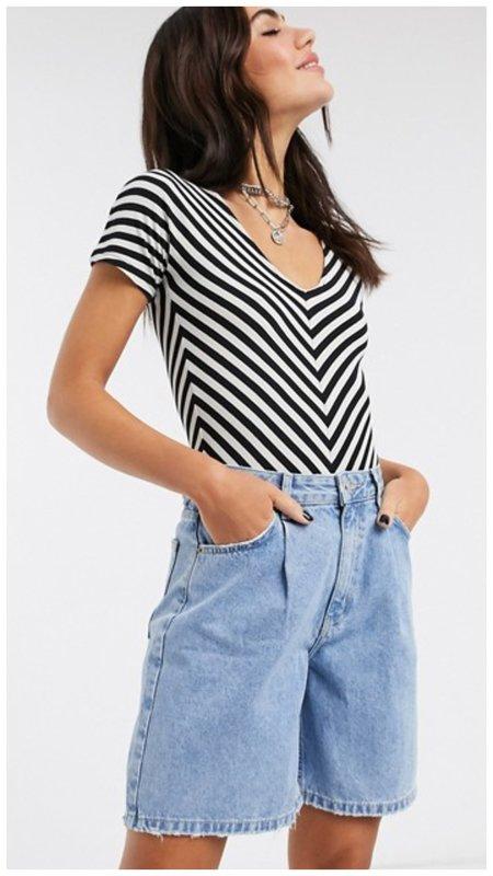 Классный летний наряд с джинсовыми шортами