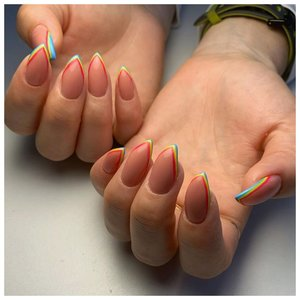 Разноцветный френч на длинные ногти