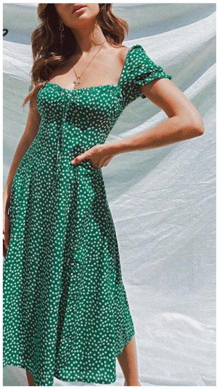 Зеленое платье в горох