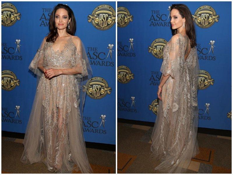Джоли в красивом вечернем платье с кружевом