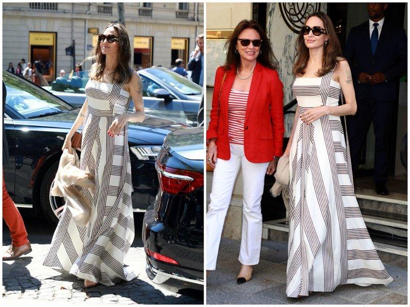 Анджелина Джоли в красивом летнем платье в полоску