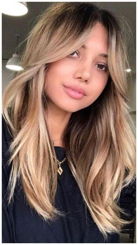 Длинные волосы с лесенкой у лица