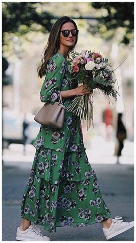 Летний образ с платье в цветок