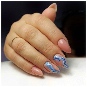 Красивые волны на ногтях
