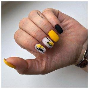 Желто-черные ногти на лето