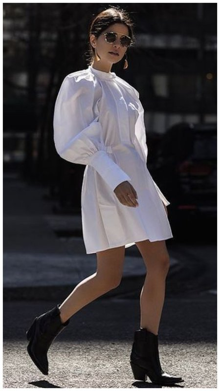 Белое платье и черные казаки