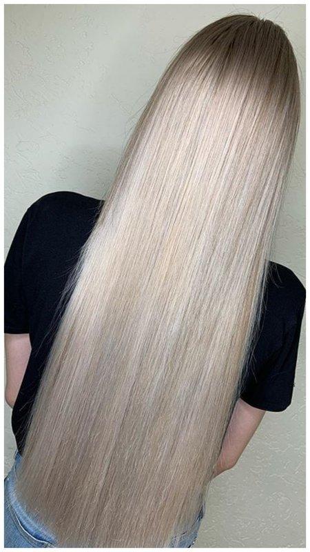 Модное окрашивание в серебристый блонд